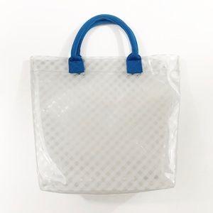 Clear Purse Transparent Tote Bag Plaid Blue Handle